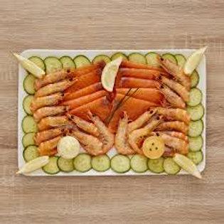 Plateau de duo de saumon et crevettes (min4 pers)