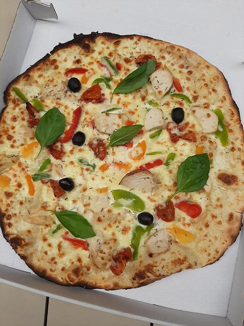 Provençale, crème, poulet, poivrons, mozzarella, tomate, basilic