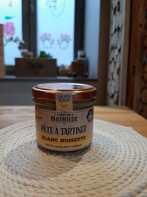 Pâte à tartiner, chocolat blanc, noisette (100g)