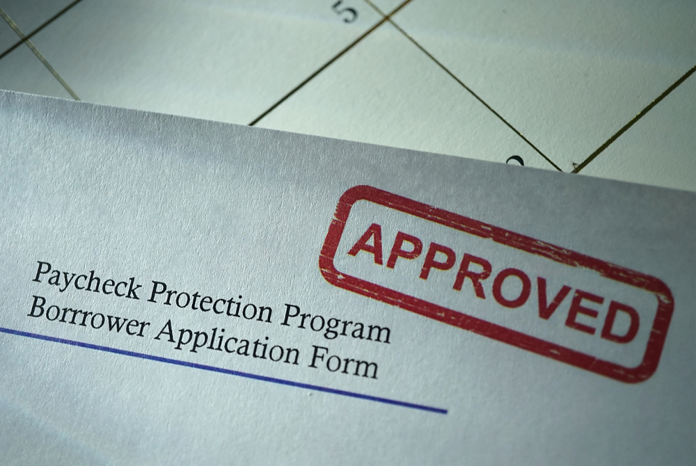 Paycheck Protection Program Borrower Application Form with Approved Stamp