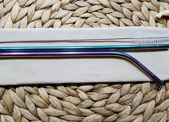 "Set of two 6mm Rainbow ""Canada"" Stainless Steel Straws"