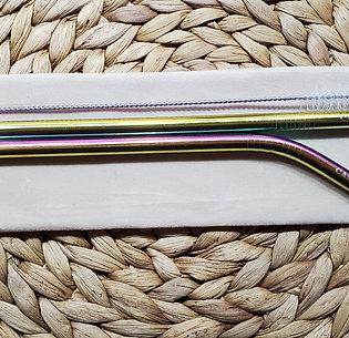 "Set of two 8mm Rainbow ""Canada"" Stainless Steel Straws"