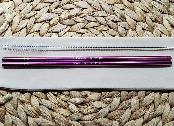 "Set of 2 ""Pretty In Pink"" Stainless Steel Straws"