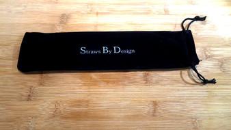 Company logo on black velvet bag