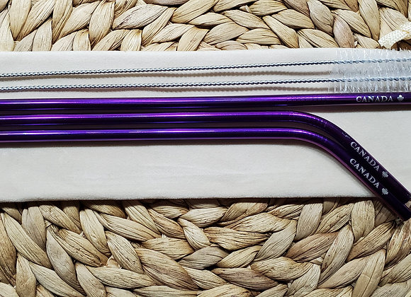 "Set of 3 Purple ""Canada"" Stainless Steel Straws"