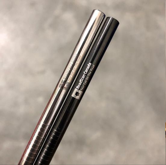 Company swag, Roadscan Canada Logo on black and silver straws