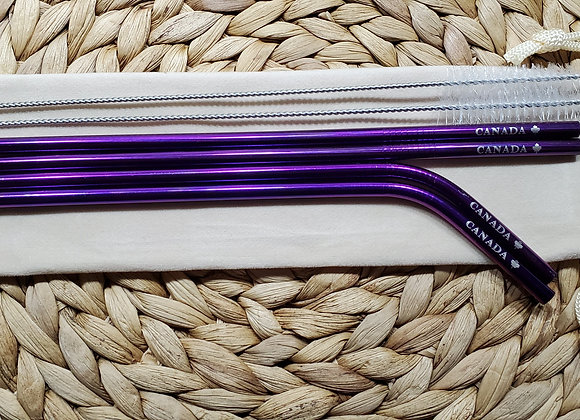 "Set of 4 Purple ""Canada"" Stainless Steel Straws"