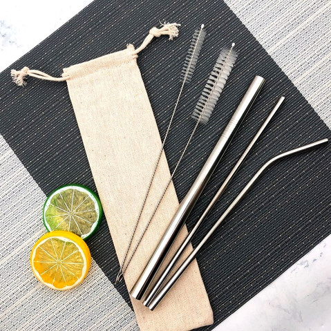 Linen bag with two cleaning brushes and 3 different silver straws
