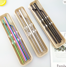 Wheat Cases with a two regular size straws in different shapes, and a smoothie straw