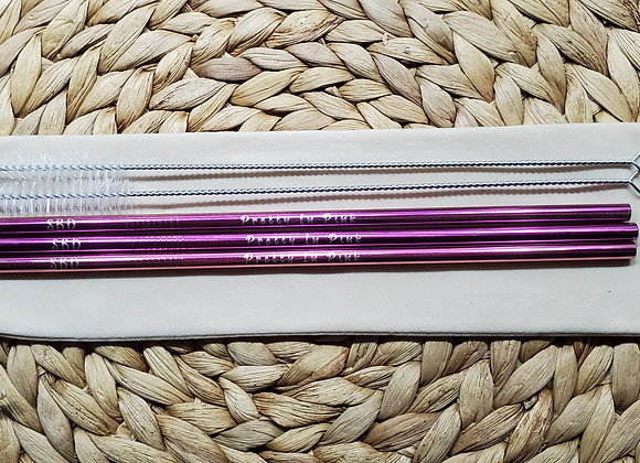 "Set of 3 ""Pretty In Pink"" Stainless Steel Straws"