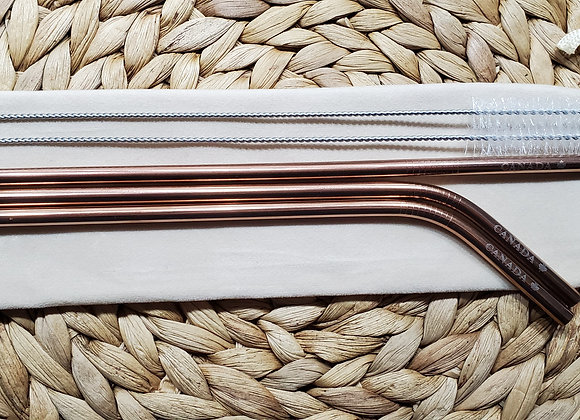 """Set of 3 Rose Gold """"Canada"""" Stainless Steel Straws"""