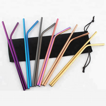 Different coloured stainless steel straight and bent straws with a black velvet bag