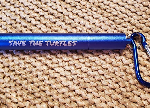 Blue Telescopic Stainless Steel Straw