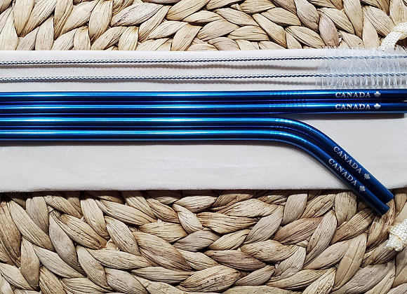 "Set of 4 Blue ""Canada"" Stainless Steel Straws"