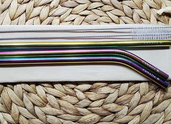 "Set of three 8mm Rainbow ""Canada"" Stainless Steel Straws"