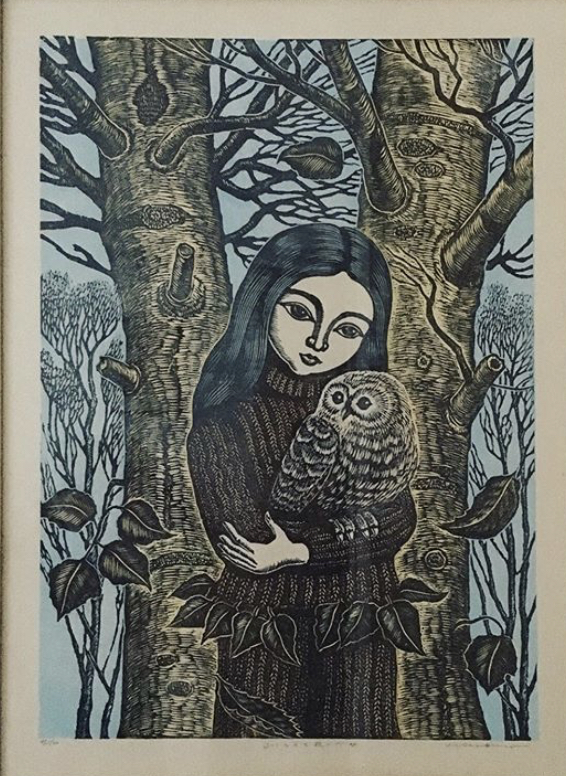 #4025 Girl and owl