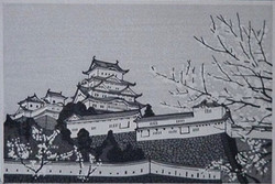 #4003 Himeji Castle and cherry blossom