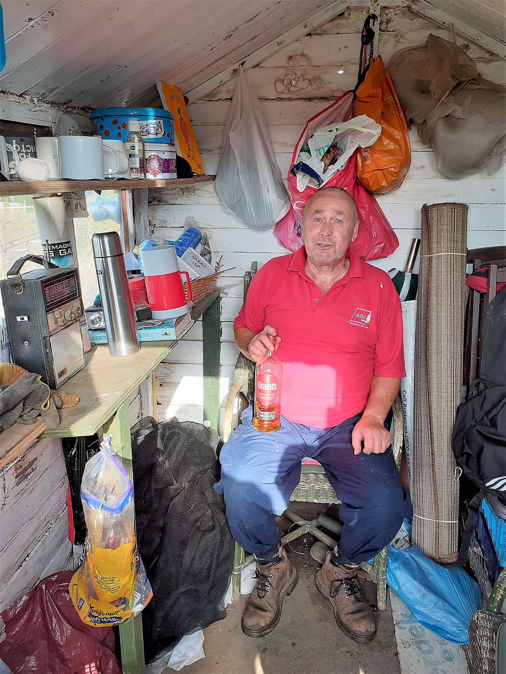 Man in a shed on an allotment