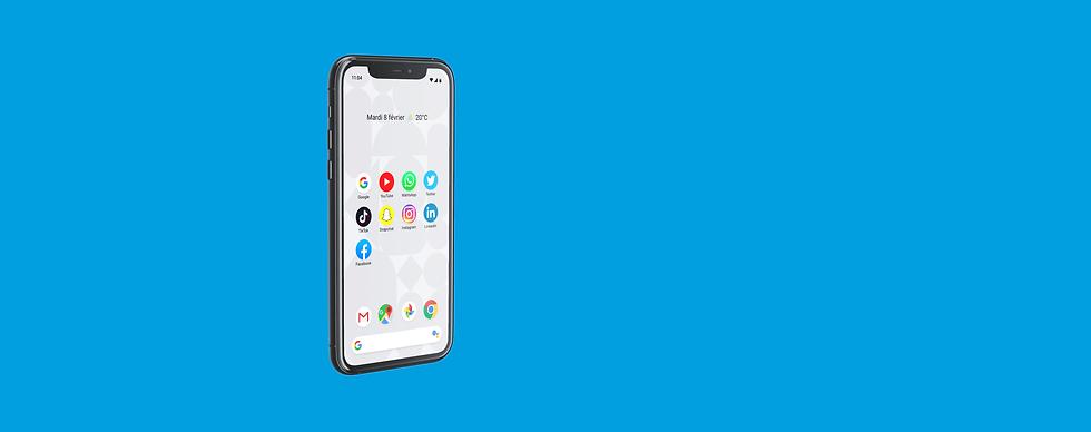 Mockup téléphone portable avec des applications de réseaux sociaux