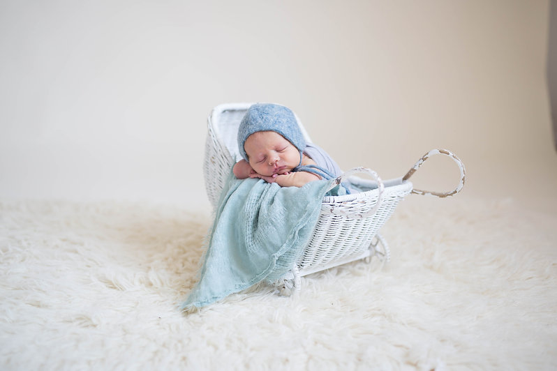newborn session posed baby boy in-studio Boston MA