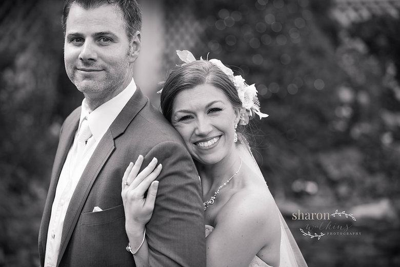 black & white wedding photograph in garden