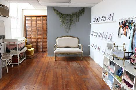 newborn photography studio with props in Concord MA