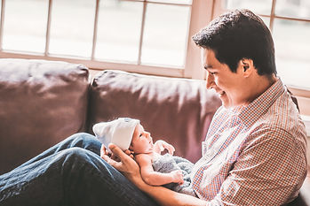 lifestyle dad & baby in home photograph Boston MA