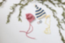 newborn striped blue & white hat, pink bonnet, headband & pearls for newborn photography props