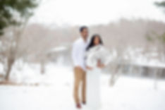 outdoor maternity photography session in winter snow