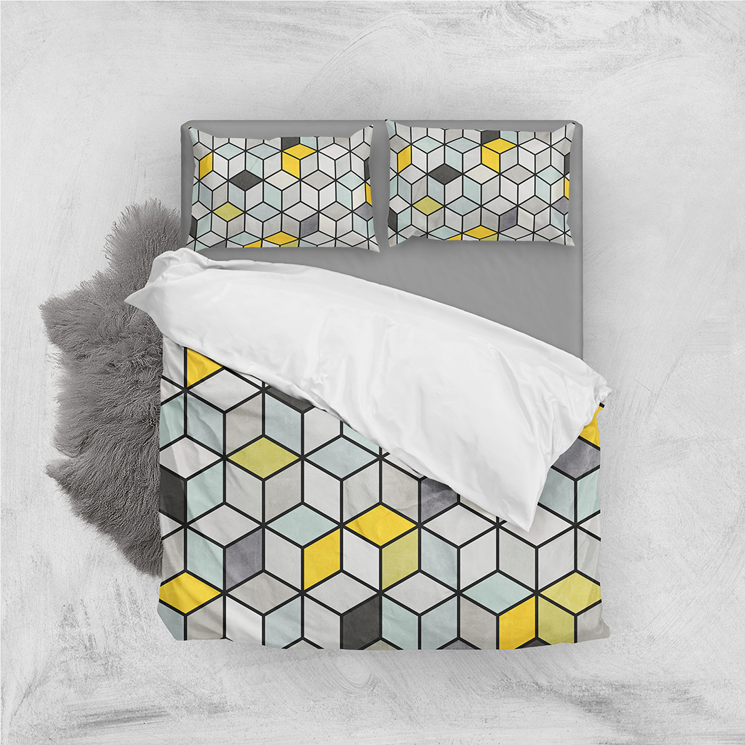 Colorful Concrete Cubes - Yellow...