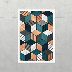 Copper, Marble and Concrete Cubes 2