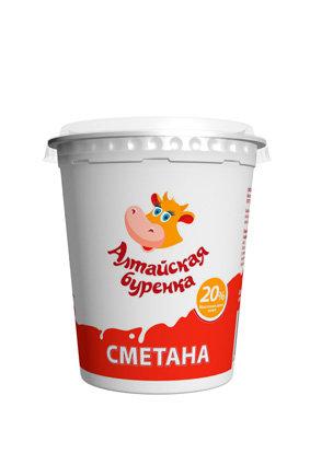 Сметана 20% Алтайская буренка стакан 380гр