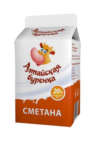 Сметана 20% Алтайская буренка пюр пак 450гр