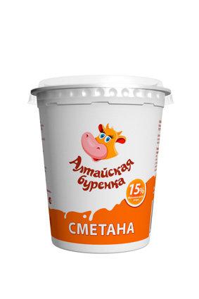 Сметана 15% Алтайская буренка стакан 380гр