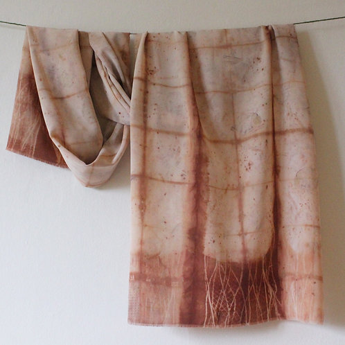Naturally dyed shibori silk scarf