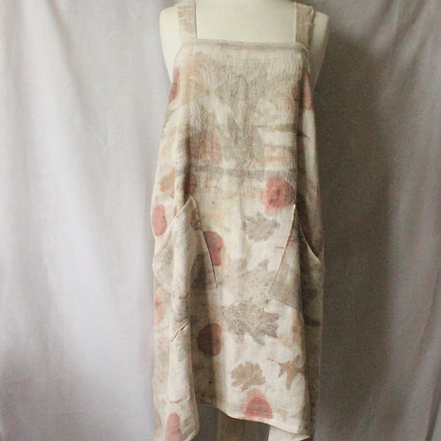 Cross-back apron made with naturally dyed French homespun linen/hemp