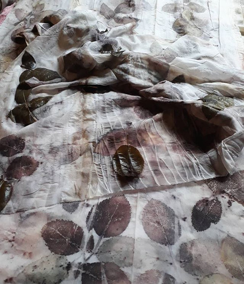 Two new silk scarves in the making - the