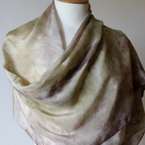 Silk scarf naturally dyed with nettles and avocado skins