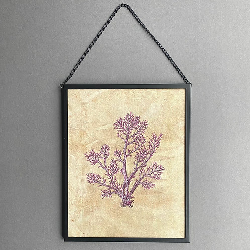 Large framed free-motion machine-embroidered seaweed picture