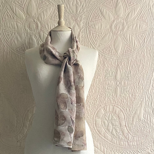 Narrow silk scarf dyed with rose leaves and rosebay willow
