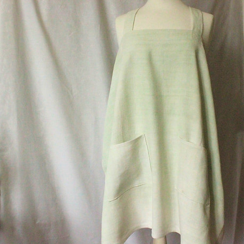 Cross-back apron made with French homespun linen/hemp dyed with chlorophyllin
