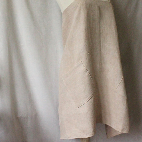 Slubby hemp/linen cross-back apron dyed with walnut husks