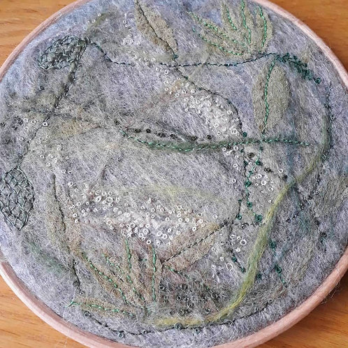 Spring - embroidery and needle felt hoop art