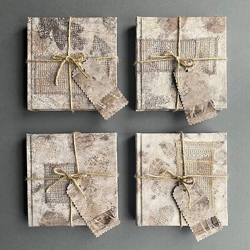 Antique linen covered sketch books