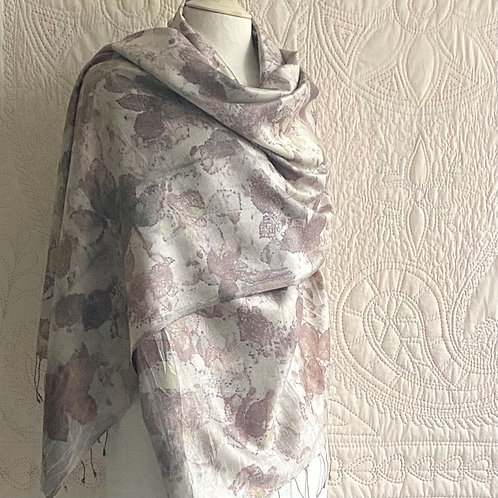 Silk shawl dyed with blackberry leaves and young honesty seed pods