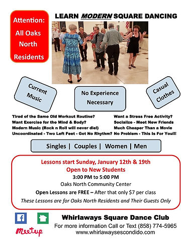Whirlaways Spring 2020 Square Dance