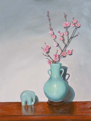 Blue Vase and Cherry Bossoms