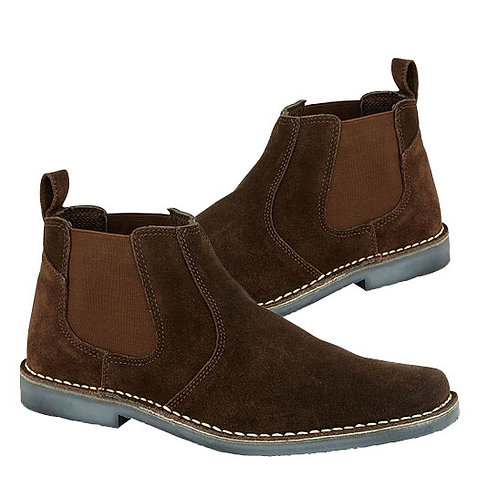 Mens Dark Brown Real Suede Twin Gusset Boots