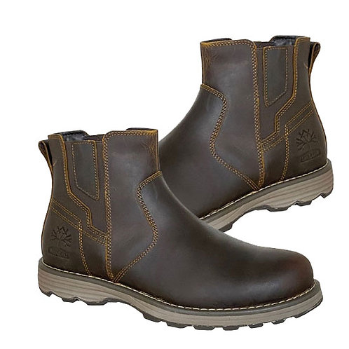 Brown Oily Leather Utility Dealer Boots