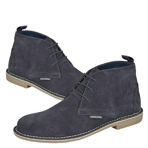 Mens Blue Suede 3 Eye Desert Boots
